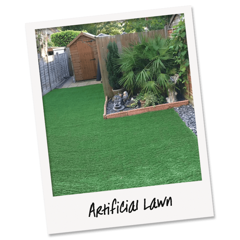 A modern low maintenance garden with Artificial Grass installed by Easier staff. slate back filled planting borders evergreens and hardy drought tolerant palms.