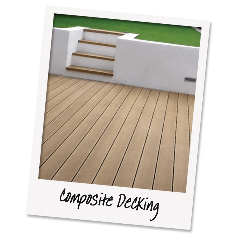 Low maintenance, no rot, no paint composite decking with white washed retaining wall and artificial grass lawn behind. Creating the ultimate in low maintenance home improvement.