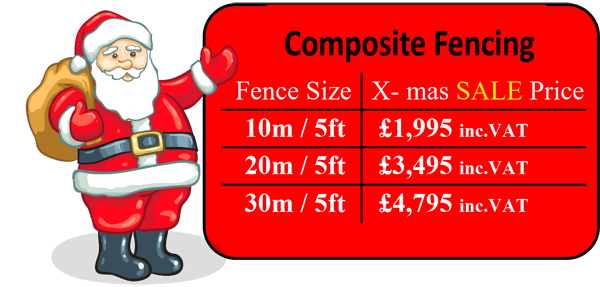 Composite fencing pricing table... includes supply and install with composite fence posts.